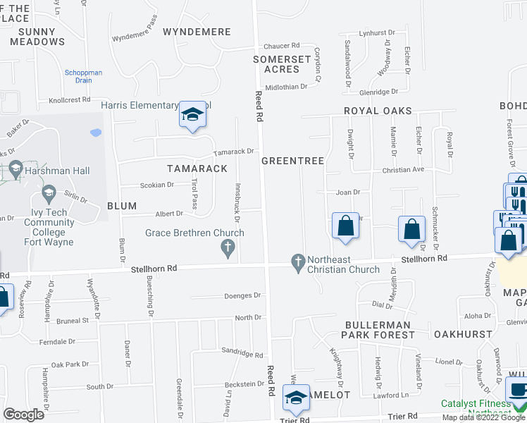 map of restaurants, bars, coffee shops, grocery stores, and more near Reed Rd in Fort Wayne