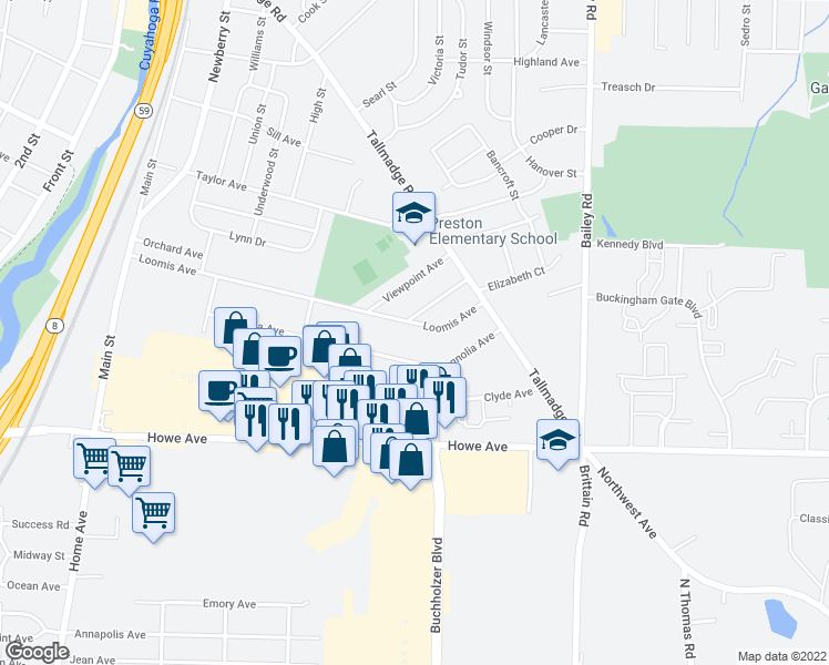 map of restaurants, bars, coffee shops, grocery stores, and more near 680 Loomis Avenue in Cuyahoga Falls