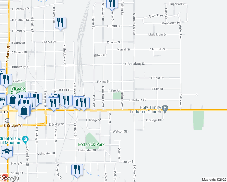 map of restaurants, bars, coffee shops, grocery stores, and more near Wisconsin Avenue in Streator