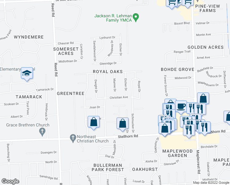 map of restaurants, bars, coffee shops, grocery stores, and more near Mamie Drive in Fort Wayne