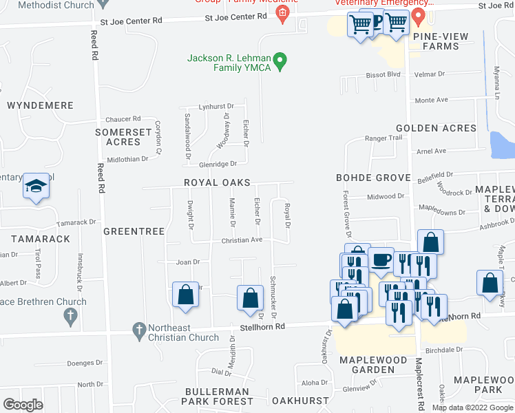 map of restaurants, bars, coffee shops, grocery stores, and more near Eicher Drive in Fort Wayne