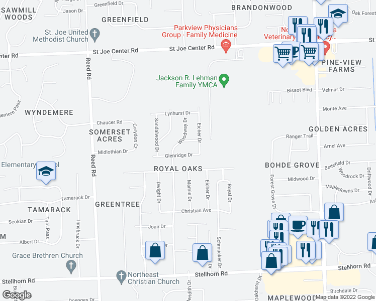 map of restaurants, bars, coffee shops, grocery stores, and more near 5403 Glenridge Drive in Fort Wayne