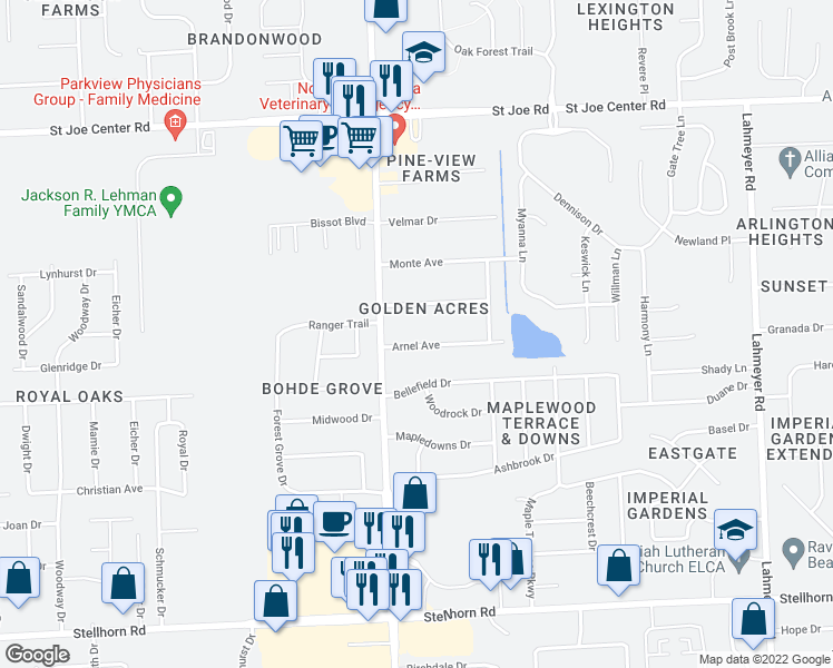 map of restaurants, bars, coffee shops, grocery stores, and more near 6405 Arnel Avenue in Fort Wayne