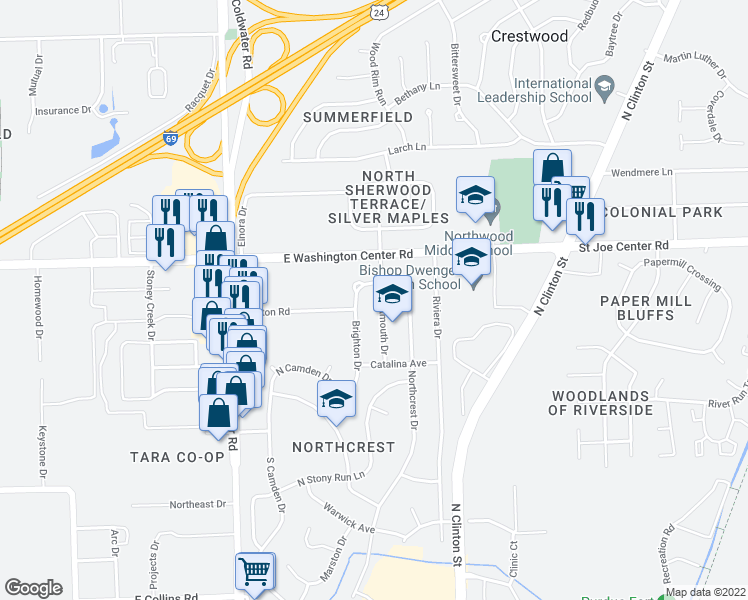 map of restaurants, bars, coffee shops, grocery stores, and more near 5715 Dartmouth Drive in Fort Wayne