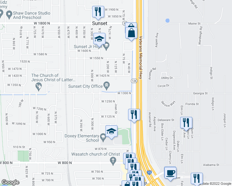 map of restaurants, bars, coffee shops, grocery stores, and more near North 125 West in Sunset