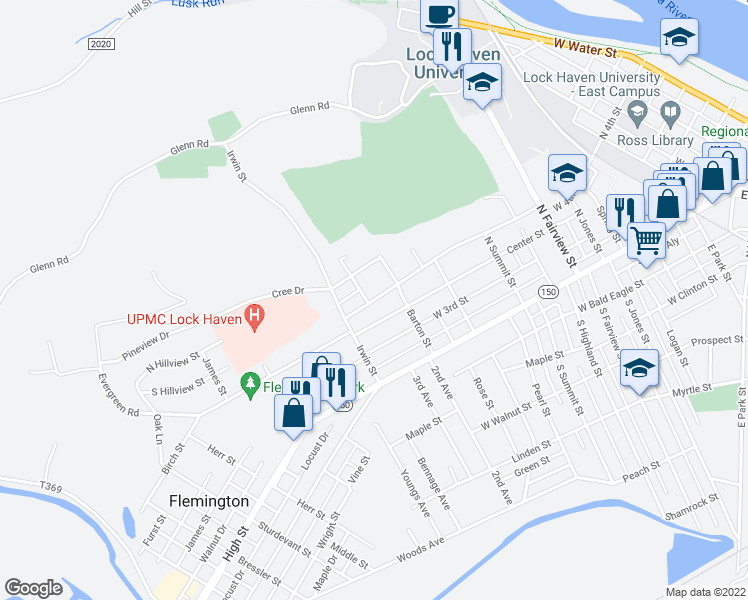 map of restaurants, bars, coffee shops, grocery stores, and more near West 4th Street in Lock Haven