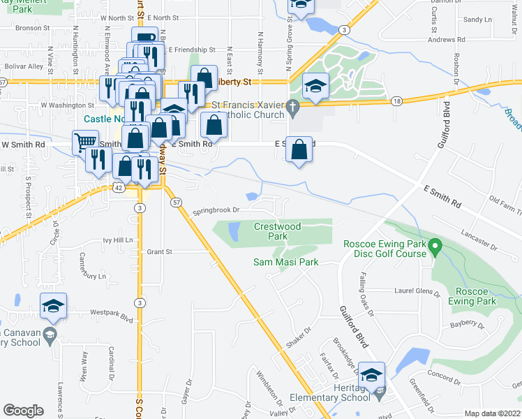 map of restaurants, bars, coffee shops, grocery stores, and more near Springbrook Drive in Medina