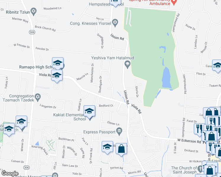 map of restaurants, bars, coffee shops, grocery stores, and more near Bay Court in New Hempstead