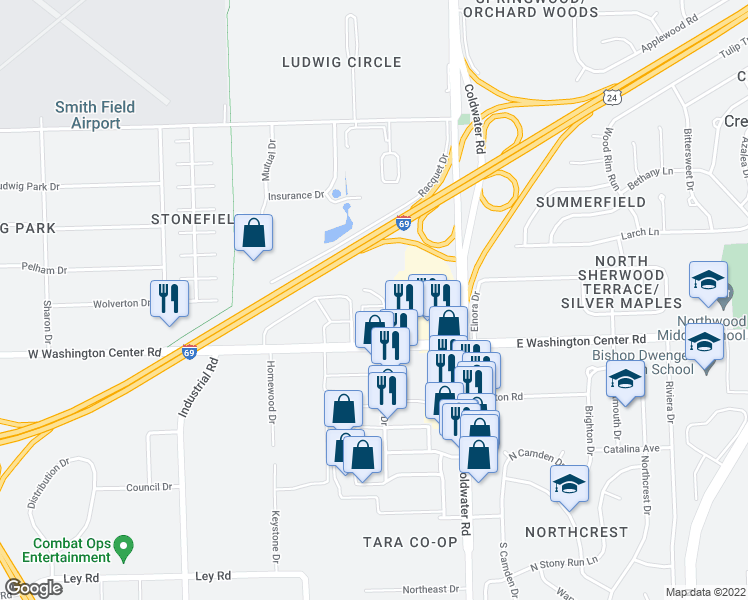 map of restaurants, bars, coffee shops, grocery stores, and more near 6171 Stoney Creek Drive in Fort Wayne