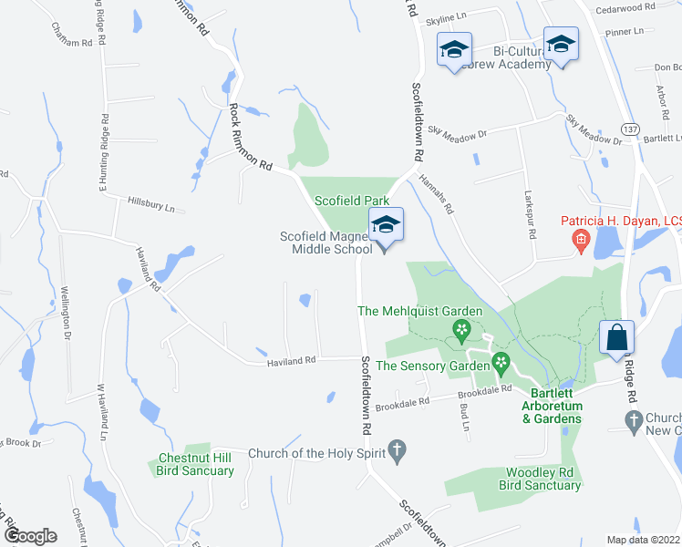 map of restaurants, bars, coffee shops, grocery stores, and more near 614 Scofieldtown Road in Stamford