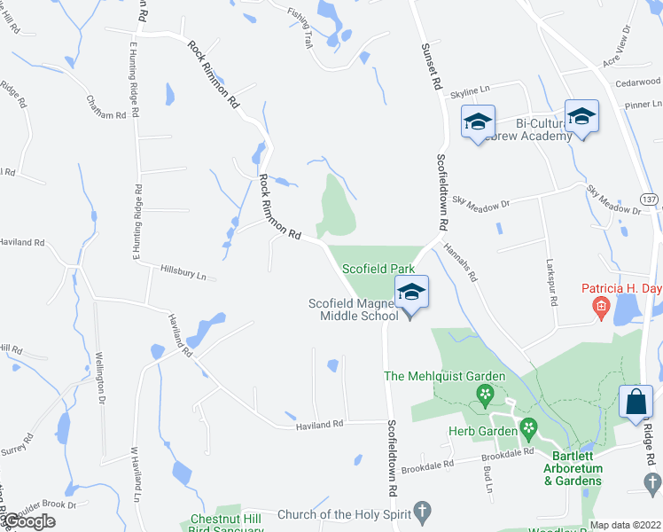 map of restaurants, bars, coffee shops, grocery stores, and more near 88 Rock Rimmon Road in Stamford