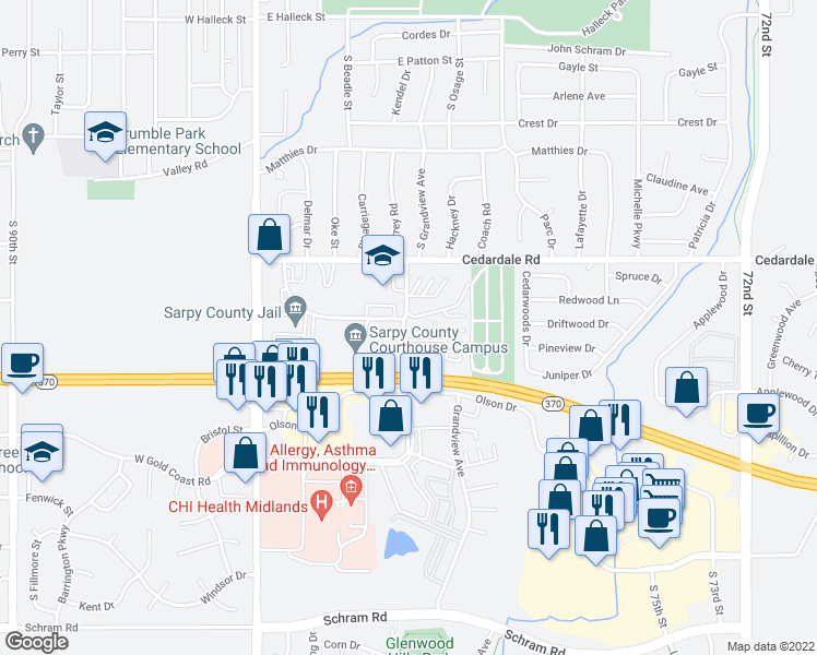 map of restaurants, bars, coffee shops, grocery stores, and more near 1234 East Gold Coast Road in Papillion
