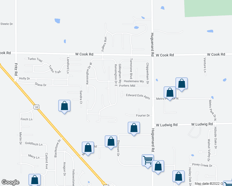 map of restaurants, bars, coffee shops, grocery stores, and more near 6933 Kensington Drive East in Fort Wayne
