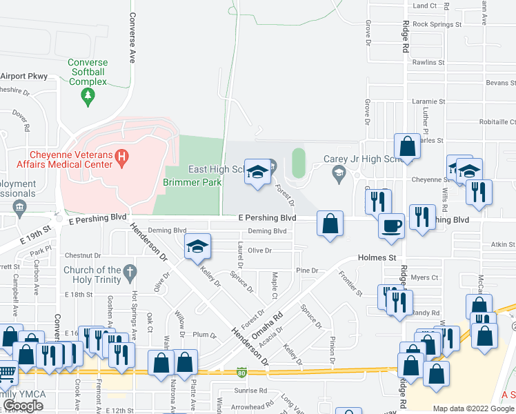 map of restaurants, bars, coffee shops, grocery stores, and more near 2800 East Pershing Boulevard in Cheyenne