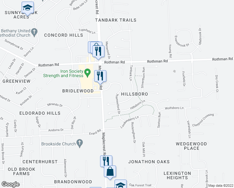 map of restaurants, bars, coffee shops, grocery stores, and more near 7021 Thamesford Dr in Fort Wayne