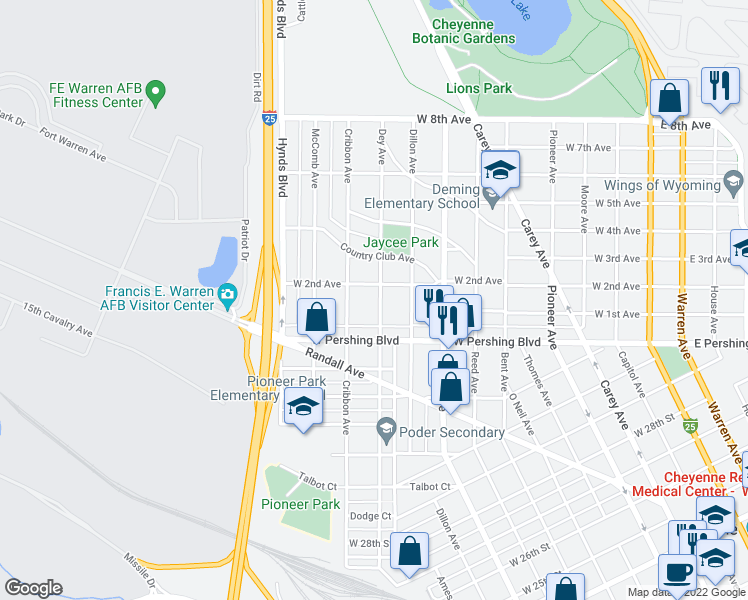 map of restaurants, bars, coffee shops, grocery stores, and more near 3410 Dey Avenue in Cheyenne