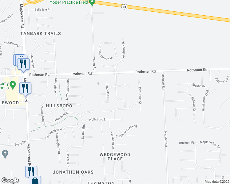map of restaurants, bars, coffee shops, grocery stores, and more near 7215 Allenbrook Blvd in Fort Wayne