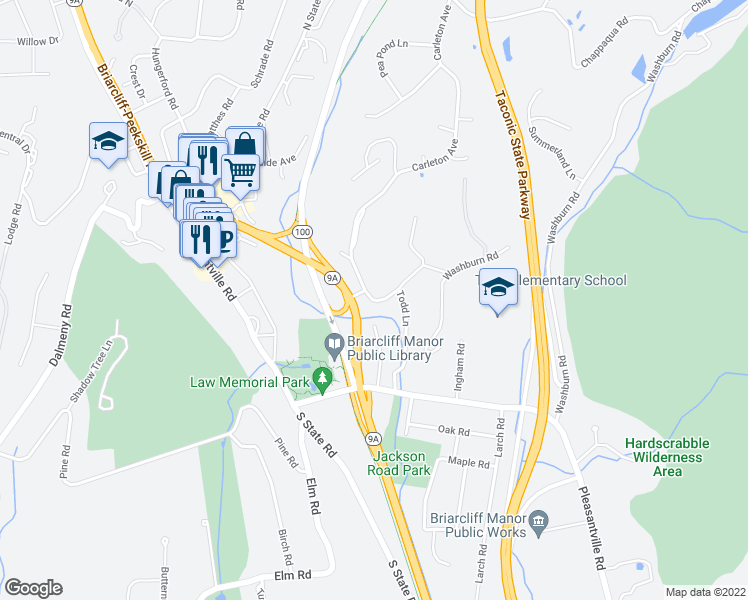 map of restaurants, bars, coffee shops, grocery stores, and more near 3 Carleton Avenue in Briarcliff Manor