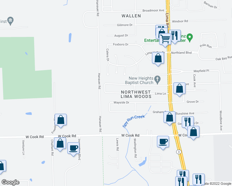 map of restaurants, bars, coffee shops, grocery stores, and more near Lima Lane in Fort Wayne