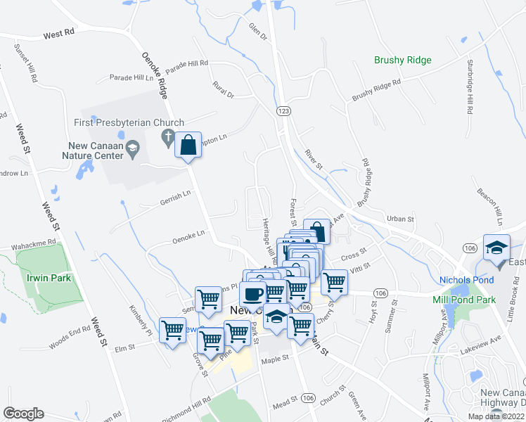 map of restaurants, bars, coffee shops, grocery stores, and more near Heritage Hill Road in New Canaan