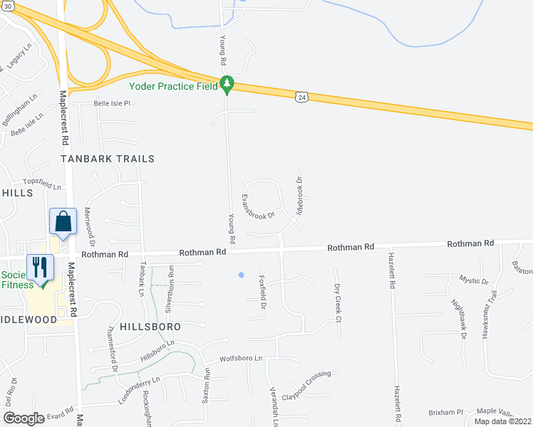 map of restaurants, bars, coffee shops, grocery stores, and more near 7321 Evansbrook Drive in Fort Wayne
