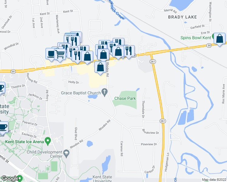 map of restaurants, bars, coffee shops, grocery stores, and more near 5928 Rhodes Road in Kent