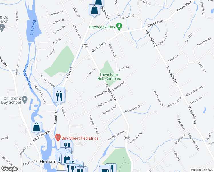 map of restaurants, bars, coffee shops, grocery stores, and more near Highway 136 in Westport