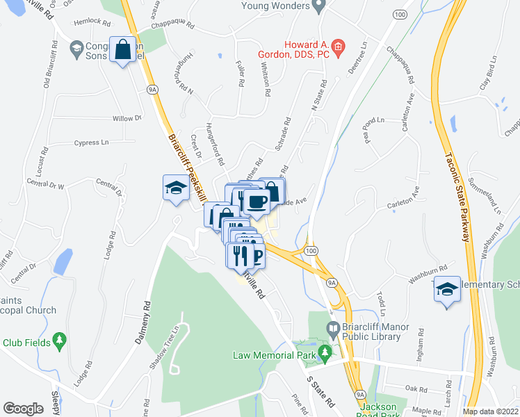 map of restaurants, bars, coffee shops, grocery stores, and more near 141 North State Road in Briarcliff Manor