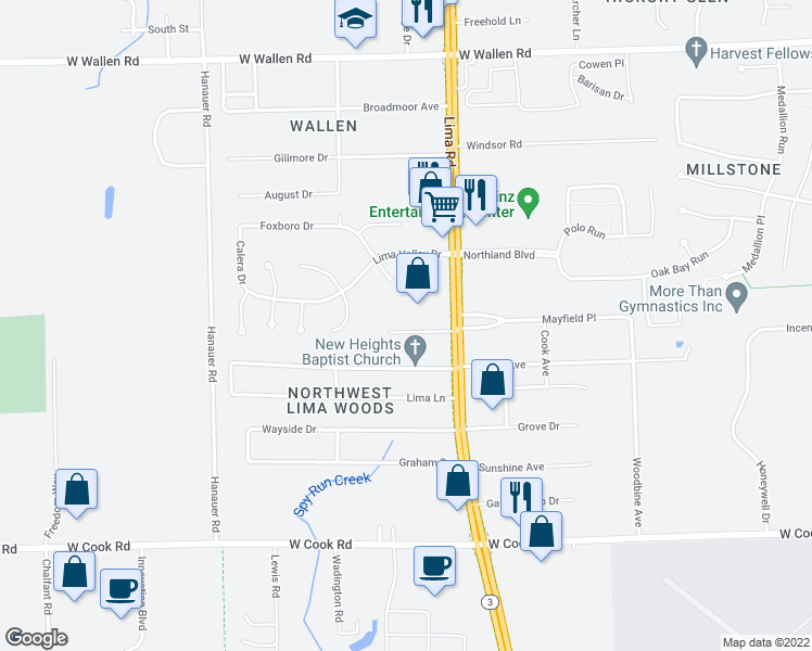 map of restaurants, bars, coffee shops, grocery stores, and more near 1816 Coree Drive in Fort Wayne