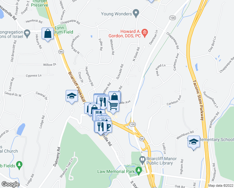 map of restaurants, bars, coffee shops, grocery stores, and more near 202 North State Road in Briarcliff Manor