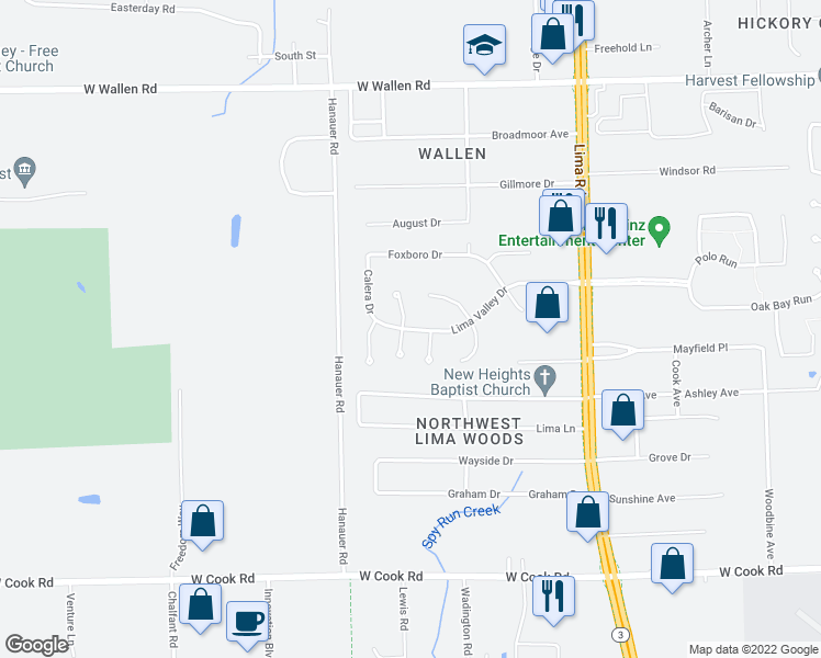 map of restaurants, bars, coffee shops, grocery stores, and more near Lima Valley Drive in Fort Wayne