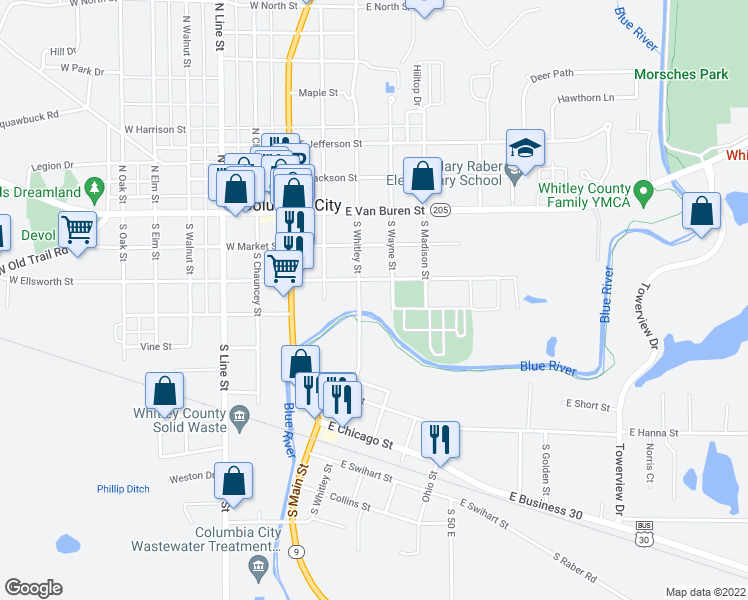 map of restaurants, bars, coffee shops, grocery stores, and more near 307 South Whitley Street in Columbia City
