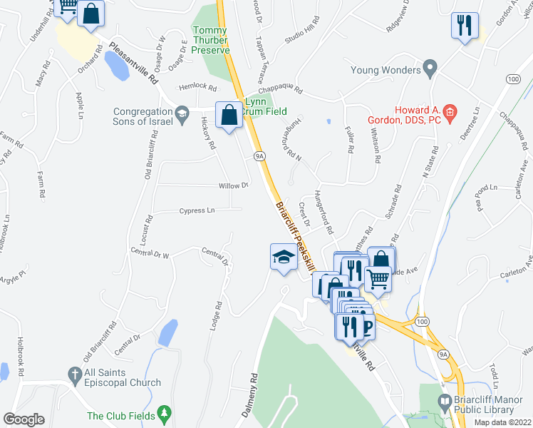 map of restaurants, bars, coffee shops, grocery stores, and more near 1460 Pleasantville Road in Briarcliff Manor