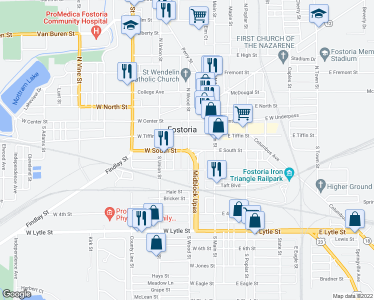 map of restaurants, bars, coffee shops, grocery stores, and more near Midblock Upas in Fostoria