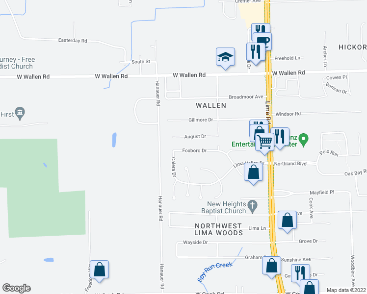 map of restaurants, bars, coffee shops, grocery stores, and more near 2308 Foxboro Drive in Fort Wayne