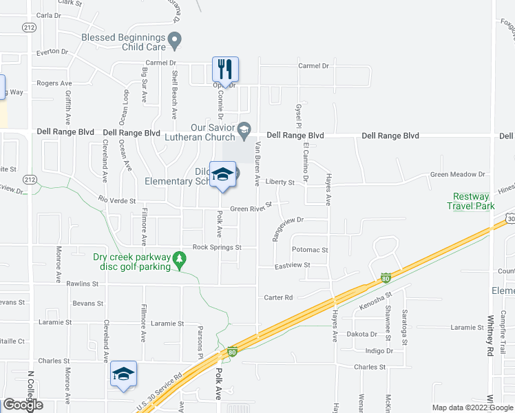 map of restaurants, bars, coffee shops, grocery stores, and more near 4311 Van Buren Avenue in Cheyenne