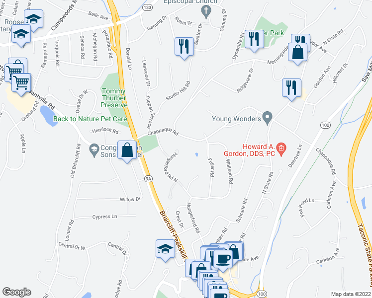 map of restaurants, bars, coffee shops, grocery stores, and more near 191 Hungerford Road North in Briarcliff Manor