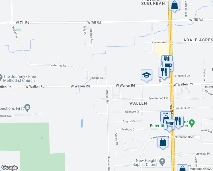 map of restaurants, bars, coffee shops, grocery stores, and more near Front Street in Fort Wayne