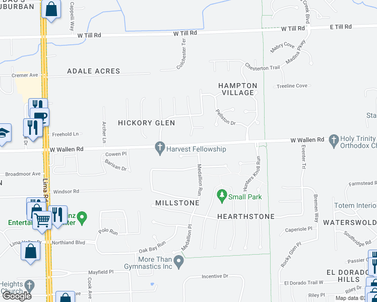 map of restaurants, bars, coffee shops, grocery stores, and more near 820 Laurel Hill Place in Fort Wayne
