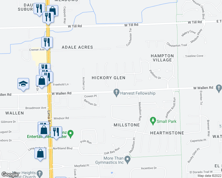 map of restaurants, bars, coffee shops, grocery stores, and more near 8907 Hickory Glen Trail in Fort Wayne