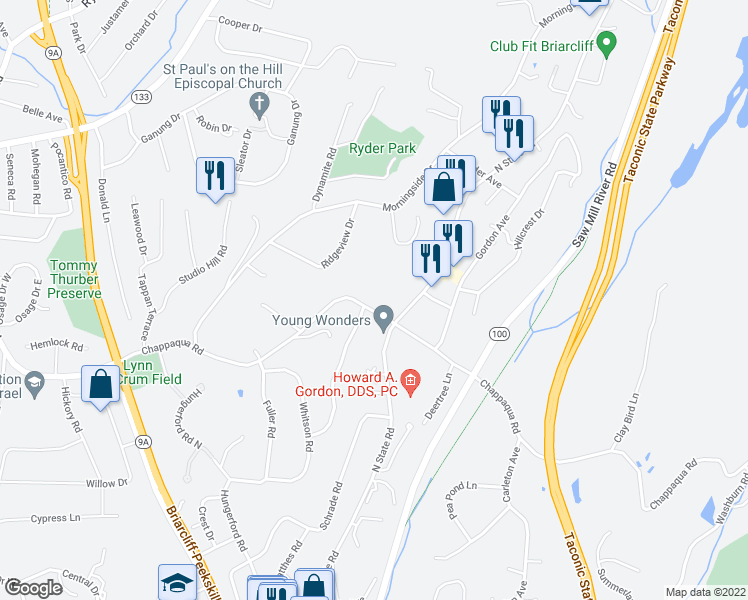 map of restaurants, bars, coffee shops, grocery stores, and more near 205 Chappaqua Rd in Briarcliff Manor