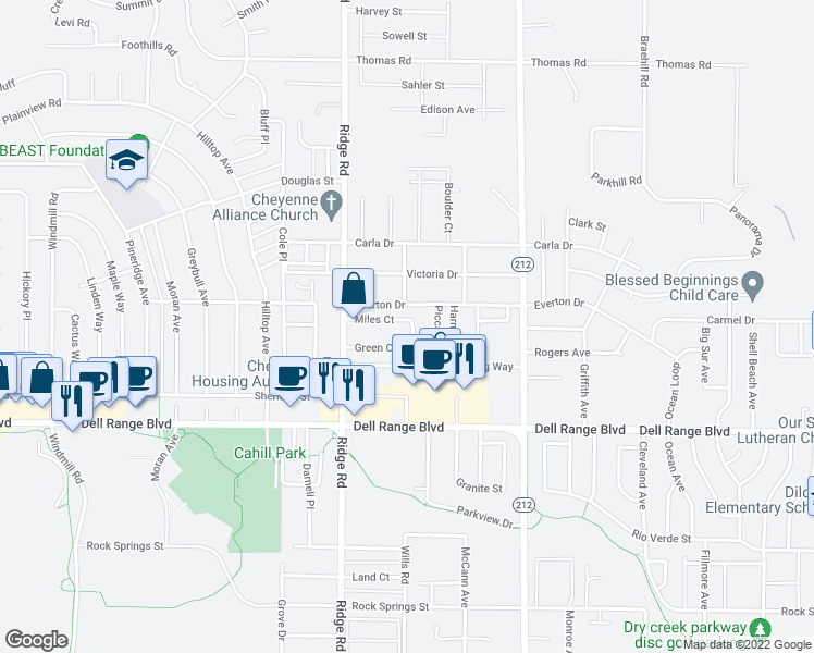 map of restaurants, bars, coffee shops, grocery stores, and more near 3515 Miles Court in Cheyenne