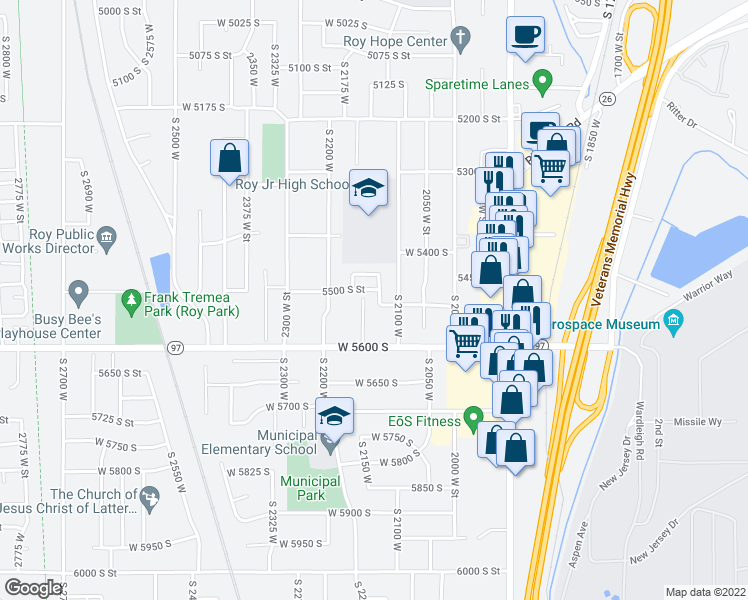 map of restaurants, bars, coffee shops, grocery stores, and more near 5509 South 2150 West in Roy