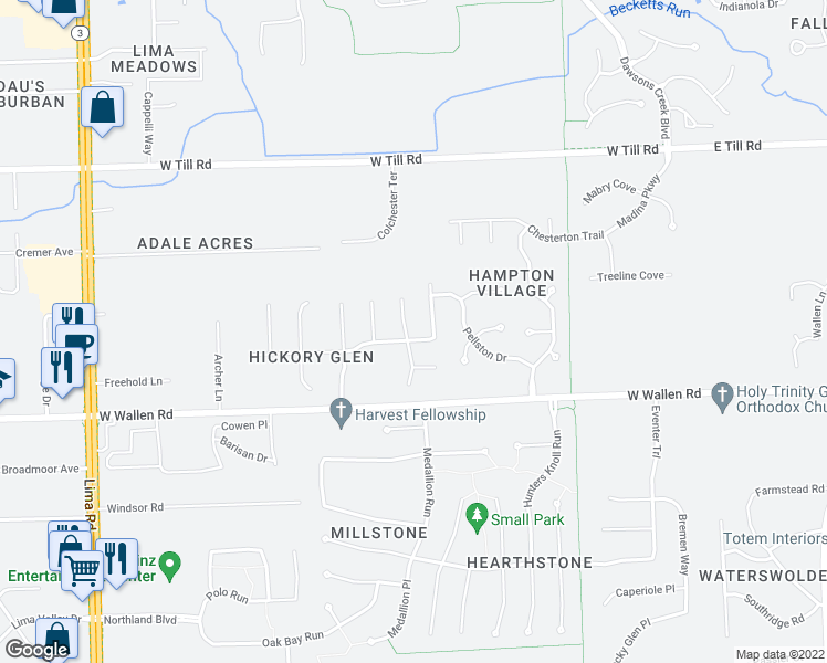 map of restaurants, bars, coffee shops, grocery stores, and more near 9004 Stoneridge Court in Fort Wayne