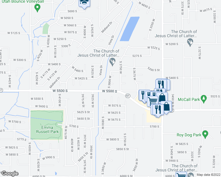 map of restaurants, bars, coffee shops, grocery stores, and more near 5480 South 3800 West in Roy