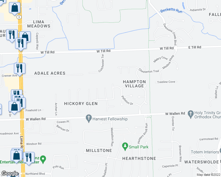 map of restaurants, bars, coffee shops, grocery stores, and more near 9033 Wyndmoor Drive in Fort Wayne