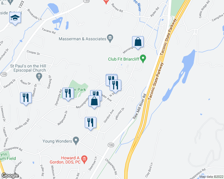 map of restaurants, bars, coffee shops, grocery stores, and more near 549 North State Road in Briarcliff Manor