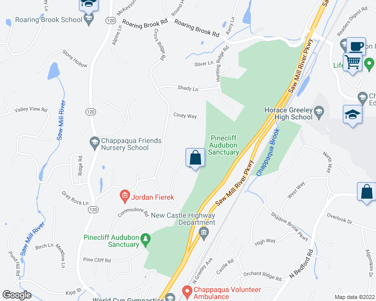 map of restaurants, bars, coffee shops, grocery stores, and more near 12 Nancy Lane in Chappaqua