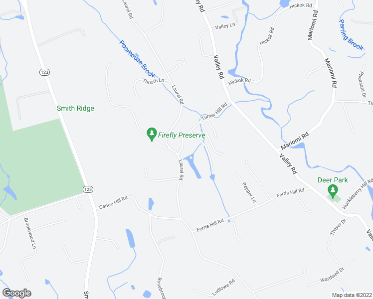 map of restaurants, bars, coffee shops, grocery stores, and more near 15 Turner Hill Road in New Canaan