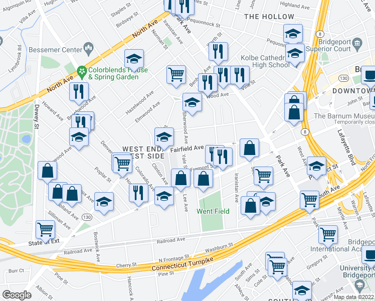 map of restaurants, bars, coffee shops, grocery stores, and more near 1035 Fairfield Avenue in Bridgeport